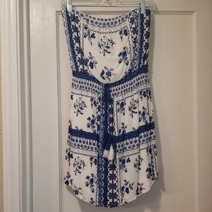 Xhilaration Strapless Blue & White Dress